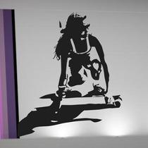 Adesivo Decorativo Parede Skate Gril Garota Menina Mulher