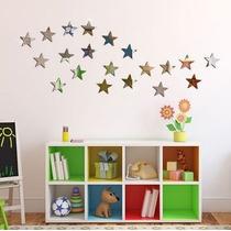 20 Estrelas - Adesivo De Parede Infantil 3d - Espelho