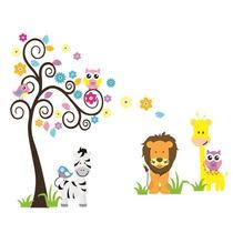 Adesivo De Parede Infantil Animais Na Floresta Frete Grátis