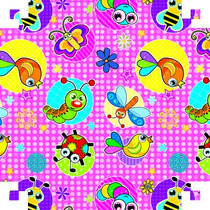 Papel Adesivo Contact Insetos Pink 45cmx10 Metros 888850