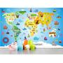 Adesivo Infantil Papel De Parede Mapa Mundi Decorativo Bebe