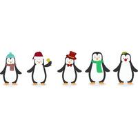 Adesivo Pinguim De Geladeira Conjunto Com 5 Pinguins