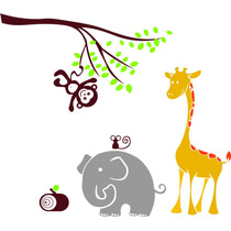 Adesivo Decorativo Parede Infantil Árvore Flor Bebê Selva