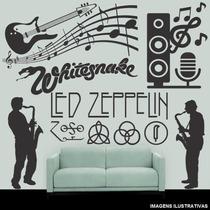 Adesivo Parede Decorativo Guitarra Rock Notas Musicais 1,25m