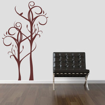 Adesivo Decorativo Parede Árvore Galhos Floral Pássaro