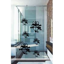 Adesivo Decorativo Parede Banheiro Box Kit 12 Sapinhos Sapo