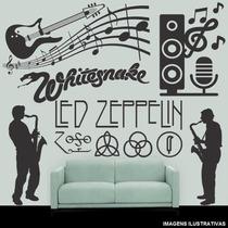 Adesivo Decorativo Parede Notas Musicais Guitarra Rock 1,25m