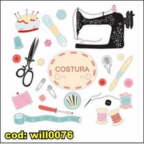 Adesivo Kit Costura Máquina Tesoura Acessórios Will0076