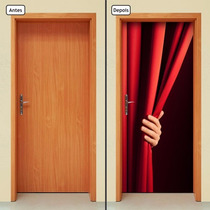 Adesivo Decorativo De Porta - Abrindo A Cortina - 092mlpt
