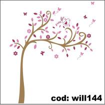 Adesivo De Parede Árvore Folhas Flores E Borboletas Will144