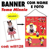 Banner Decorativo Aniversário Nome Foto Tema Minnie Will128