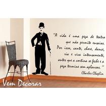 Adesivo Decorativo Charlie Chaplin + Frase - 70 Cm X 100 Cm