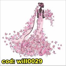 Adesivo Decorativo Mulher Vestido Véu E Borboletas Will0029