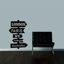 Adesivo Decorativo Parede Placa Cidades Londres Paris Ny