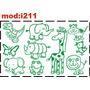 Adesivo I211 Dinossauro Elefante Girafa Gato Leão Passarinho
