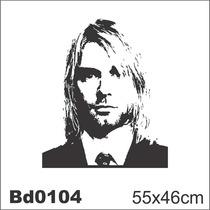 Adesivo Bd0104 Kurt Cobain Nirvana Rock Decoração Parede