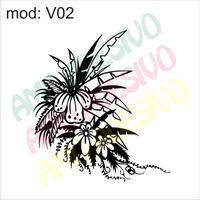 Adesivo V02 Flor Flores Folha Folhas Paisagem Bananeira