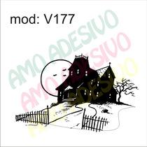 Adesivo V177 Desenho Abstrato Casa Casarao Sombrio Medo