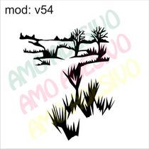 Adesivo V54 Paisagem Mato Folhas Folha Decorativo De Parede