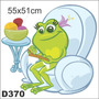 Adesivo Decorativo D370 - Sapo Tricotando Poltrona Lã Tecer