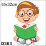Adesivo Decorativo D363 - Garoto Esperto Lendo Livro Feliz