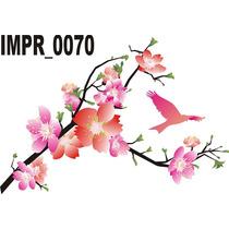 Adesivo Imp70 Galho Arvore Com Flores Vermelhas E Rosas Flor