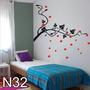 Adesivo N32 Árvore Tronco Galhos Secos Com Folhas E Flores