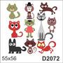 D2072 Adesivo Decorativo Gato Gatinho Desenho Abstrato