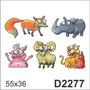 D2277 Adesivo Decorativo Ovelha Porco Tigre Hipopotamo
