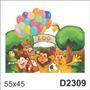 D2309 Adesivo Decorativo Zoologico Animais Leão Macaco Tigre