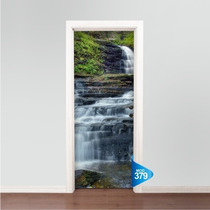 Adesivo 123 Decorativo Porta Natureza Cachoeira Pedras