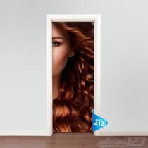 Adesivo 123 Porta Salão Aplique Penteado Maquiagem Mod 412