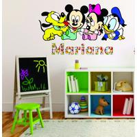 Adesivo Parede Infantil Criança Turma Mickey Baby + Nome