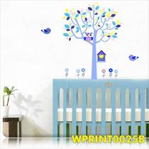 Adesivo Quarto Infantil Lilás Azul Menina Casinha Wpt25b