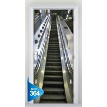 Adesivo 123 Porta 3d Escada Rolante Elevador 364