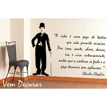 Adesivo Decorativo Charlie Chaplin + Frase G 100 Cm X 140 Cm