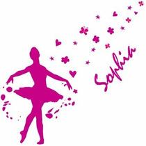 Adesivo Decorativo - Bailarina Com Nome Personalizado G