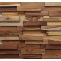 Mosaico Madeira Filete Teca Lisa - Pastilhas - 30cm X 30cm