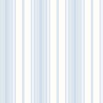 Papel Parede - Listras Azul Flores - 10 Metros X 52cm