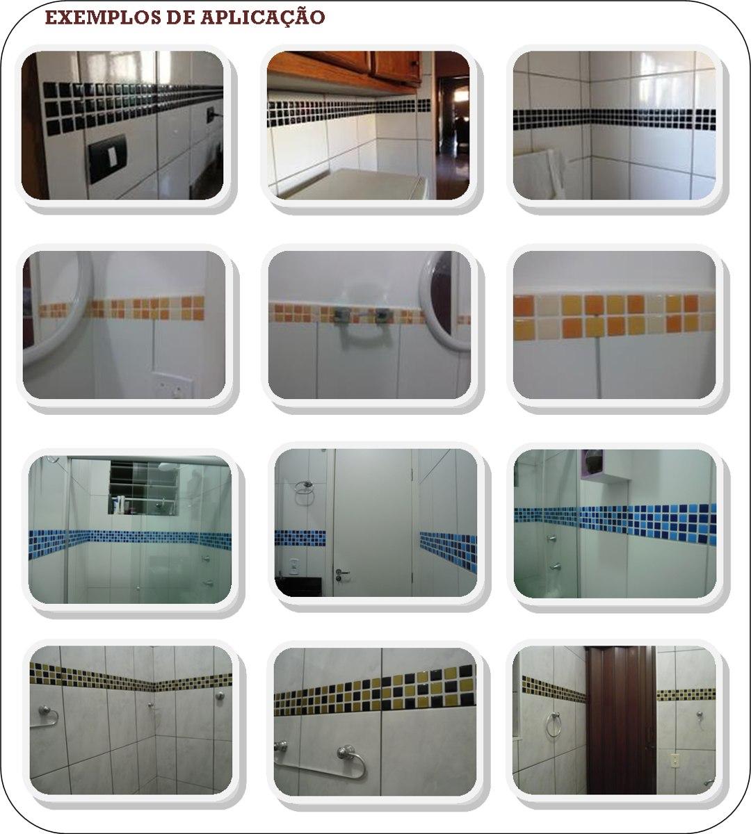 Pastilhas Adesivas Resinadas Cozinha Banheiro R$ 7 99 no  #71452B 1080x1200 Banheiro Com Pastilhas Adesivas