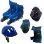 Patins Roller Infantil 29 A 32 C/kit Proteção Azul Belsports