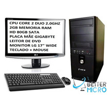 Pc Completo Core 2 Duo 4 Gb 80gb Monitor 17 Teclado E Mouse!