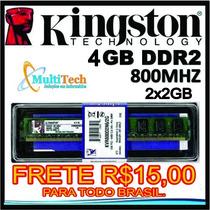 Memória Ram Kingston Ddr2 4gb 2x2gb 800mhz Amd Frete R$15,00