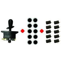 Kit Arcade Comando + 10 Botões Acrílico Black + 10 Micro