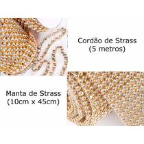 Kit De Strass Com 5 Metros De Cordão + 1 Manta 10cm X 45cm