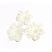 Flores Para Chinelos Pérolas Marfim Beje Atacado 40 Unidades