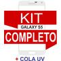Tela Vidro Galaxy S5 G900 I9600 Branco+kit Remoção+ Cola Uv