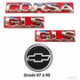 Kit Emblemas Corsa Hatch Gls - 1997 À 1999 - Modelo Original