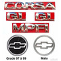 Kit Emblemas Corsa Hatch Gl Mpfi - 97 À 99 - Modelo Original