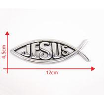 Emblema Cromado Adesivo Evangélico Cristão Peixe Jesus